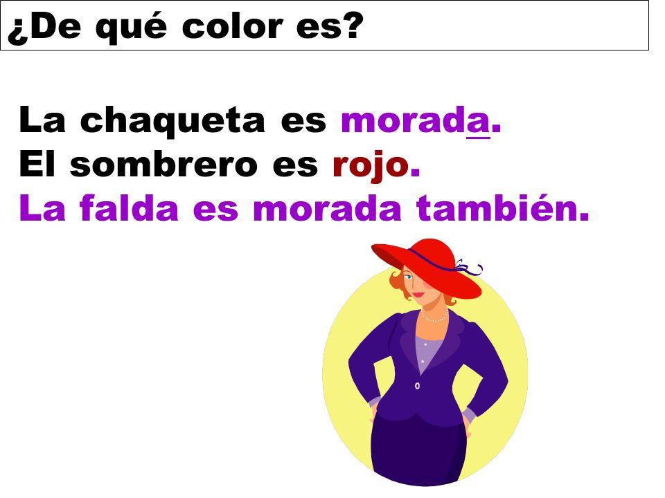 La chaqueta es morada. El sombrero es rojo. La falda es morada también.
