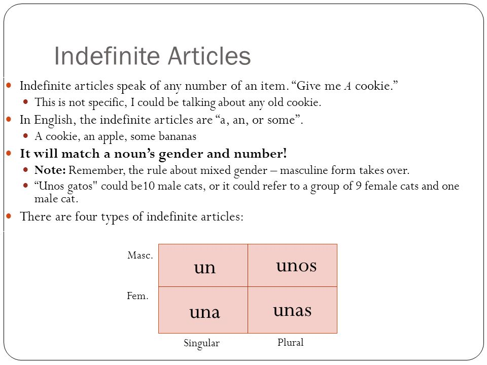 Indefinite Articles unos un unas una