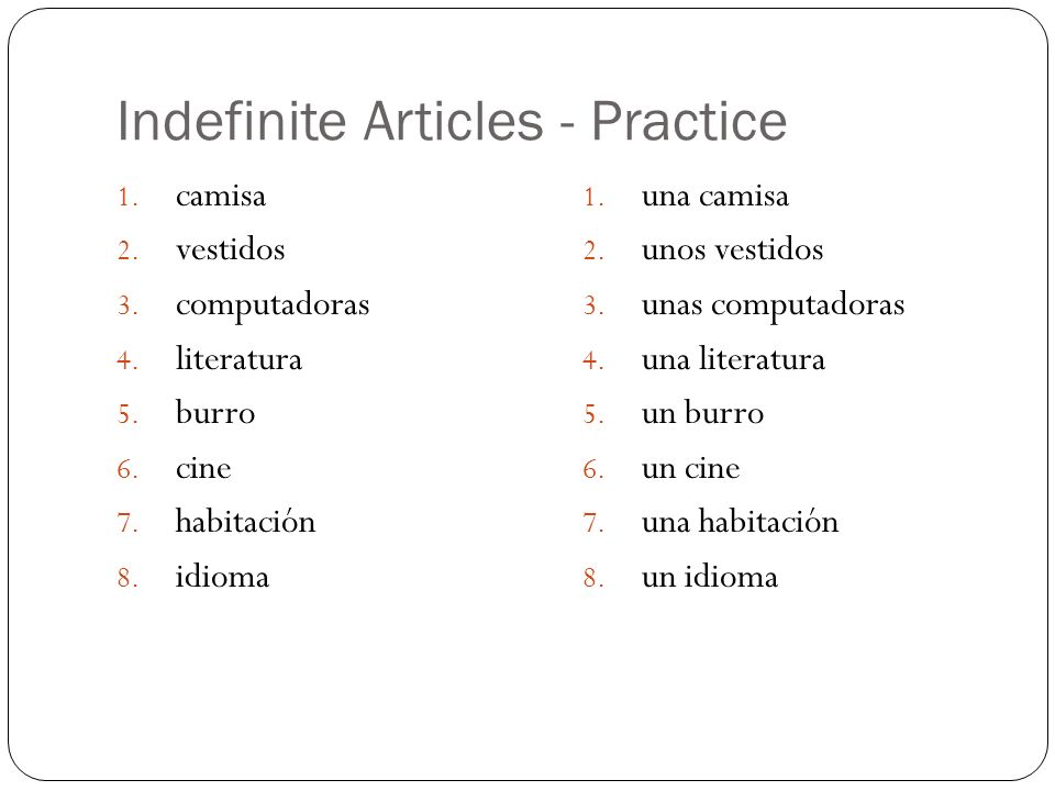 Indefinite Articles - Practice