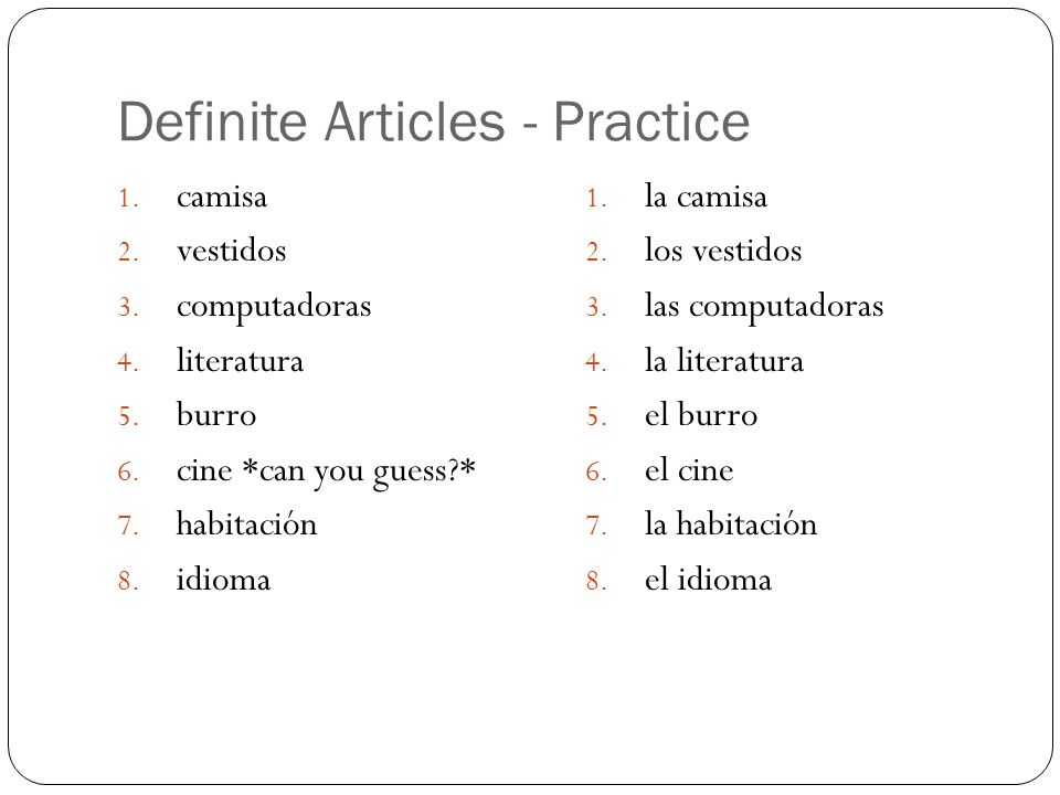Definite Articles - Practice