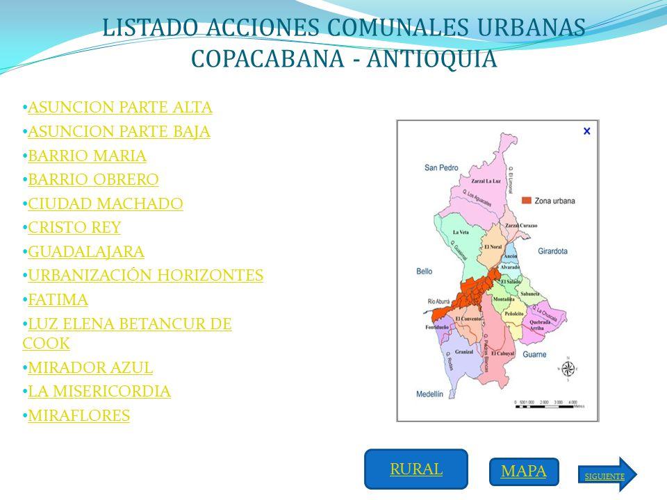 LISTADO ACCIONES COMUNALES RURALES COPACABANA  ANTIOQUIA  ppt
