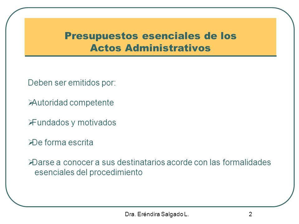 Presupuestos esenciales de los Actos Administrativos