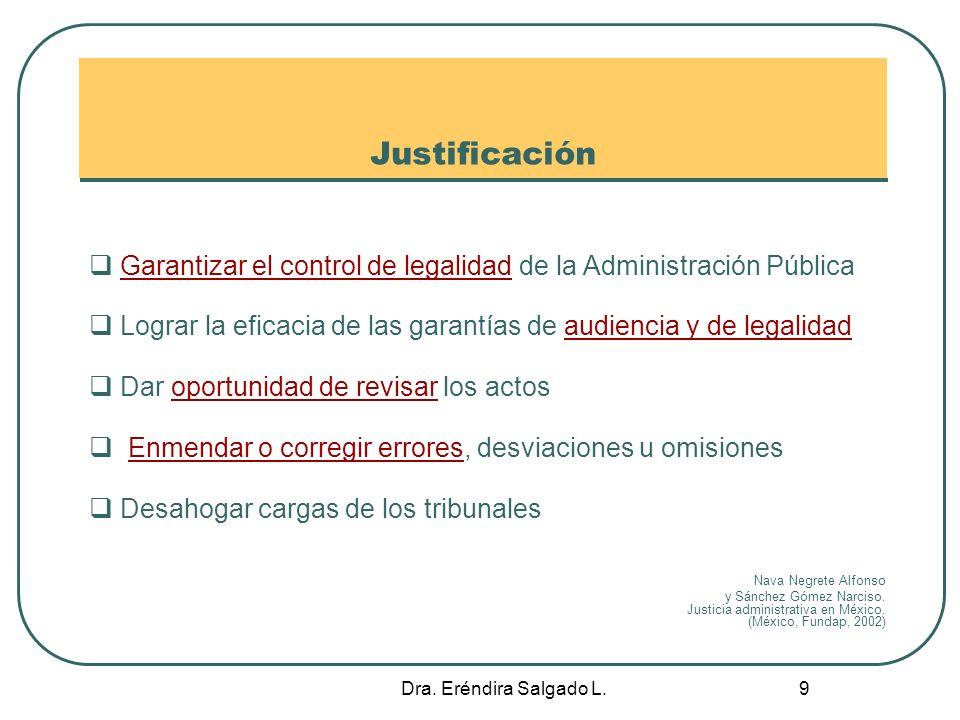Justificación Garantizar el control de legalidad de la Administración Pública. Lograr la eficacia de las garantías de audiencia y de legalidad.
