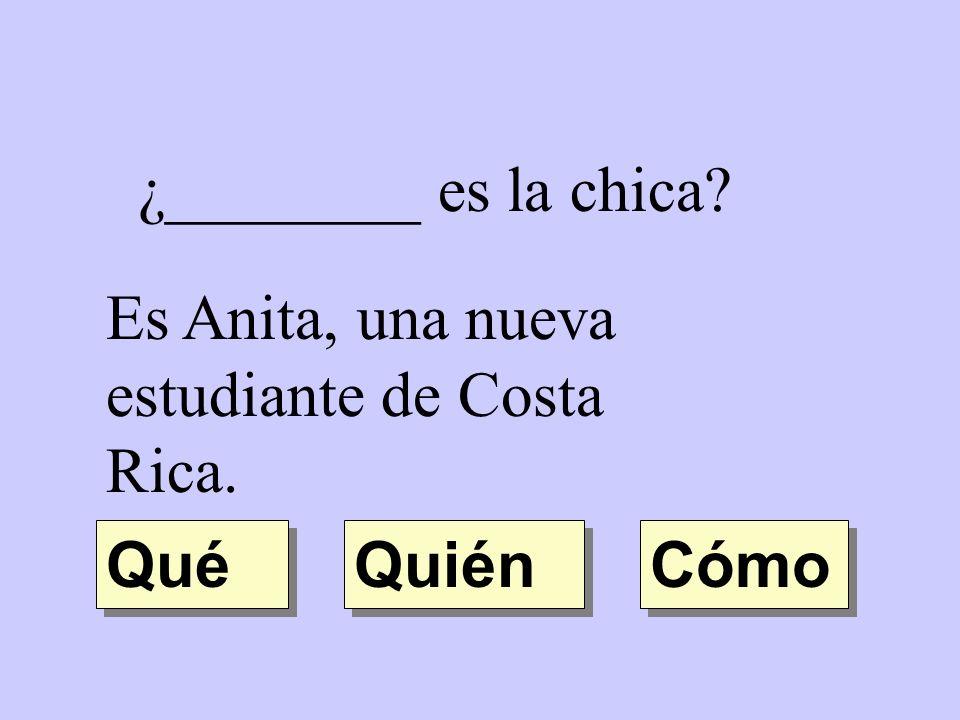 ¿________ es la chica Es Anita, una nueva estudiante de Costa Rica. Qué Quién Cómo