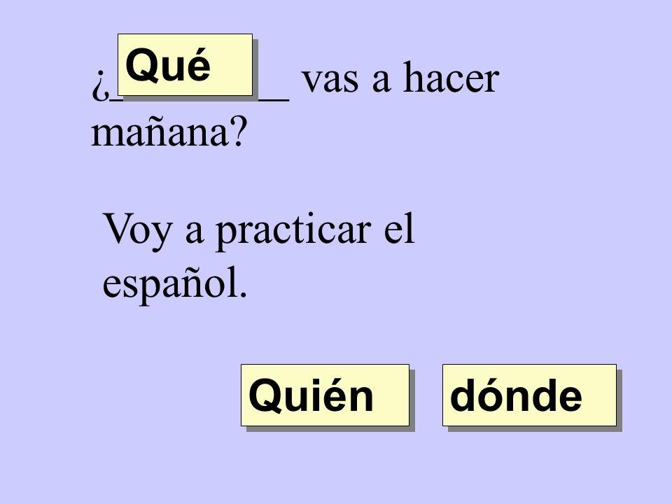 Qué ¿________ vas a hacer mañana Voy a practicar el español. Quién dónde