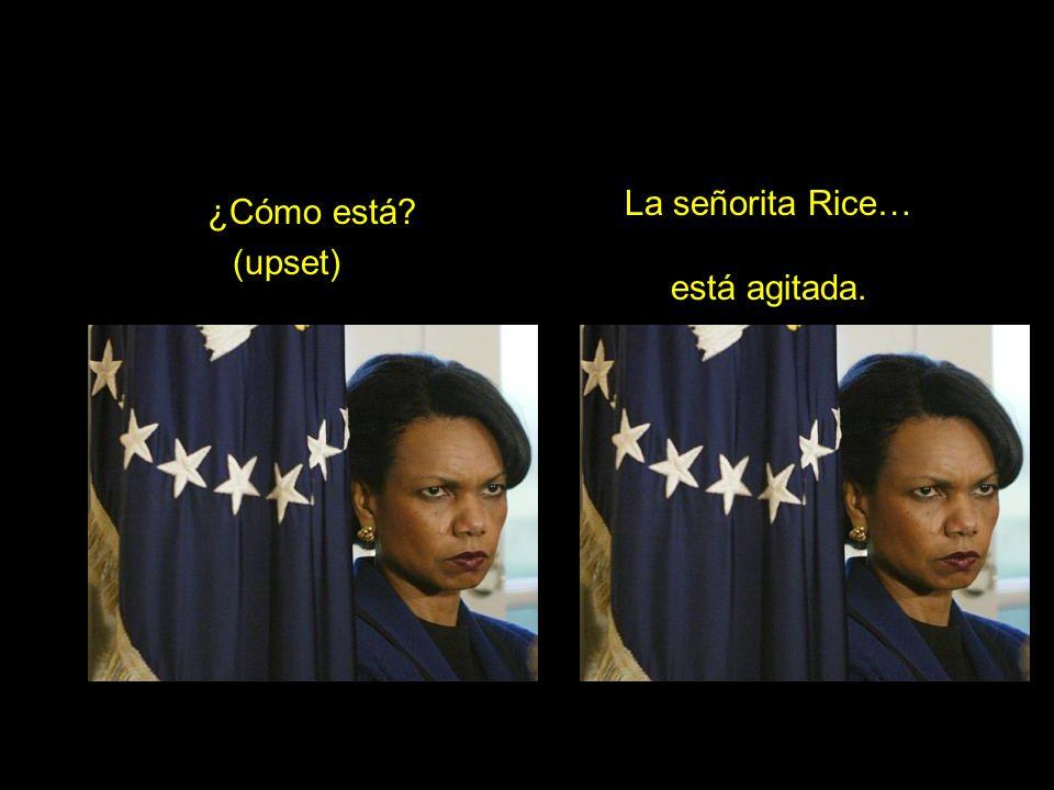 ¿Cómo está (upset) La señorita Rice… está agitada.