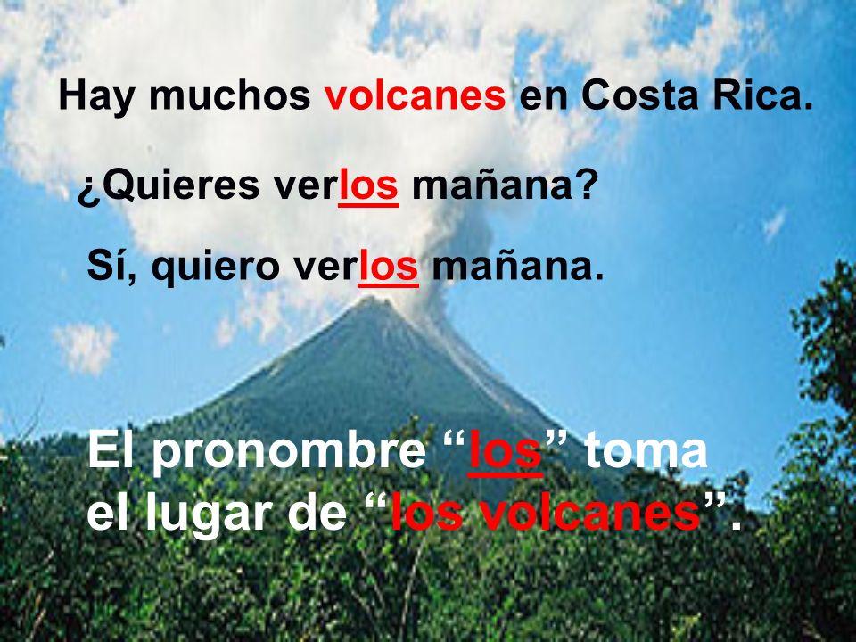 El pronombre los toma el lugar de los volcanes .