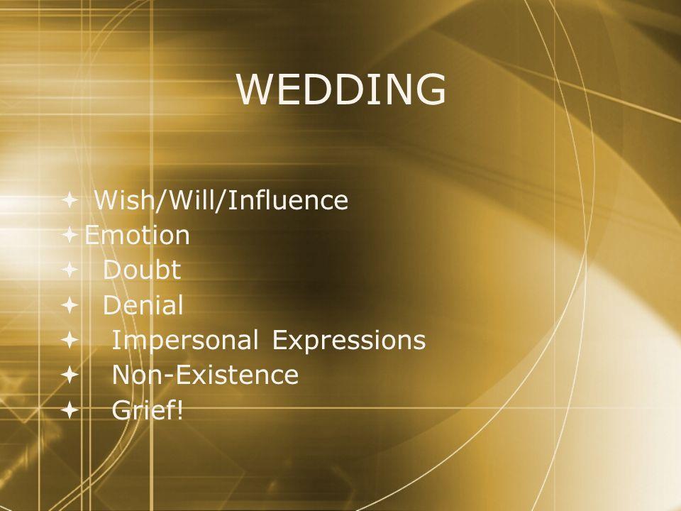 WEDDING Wish/Will/Influence Emotion Doubt Denial