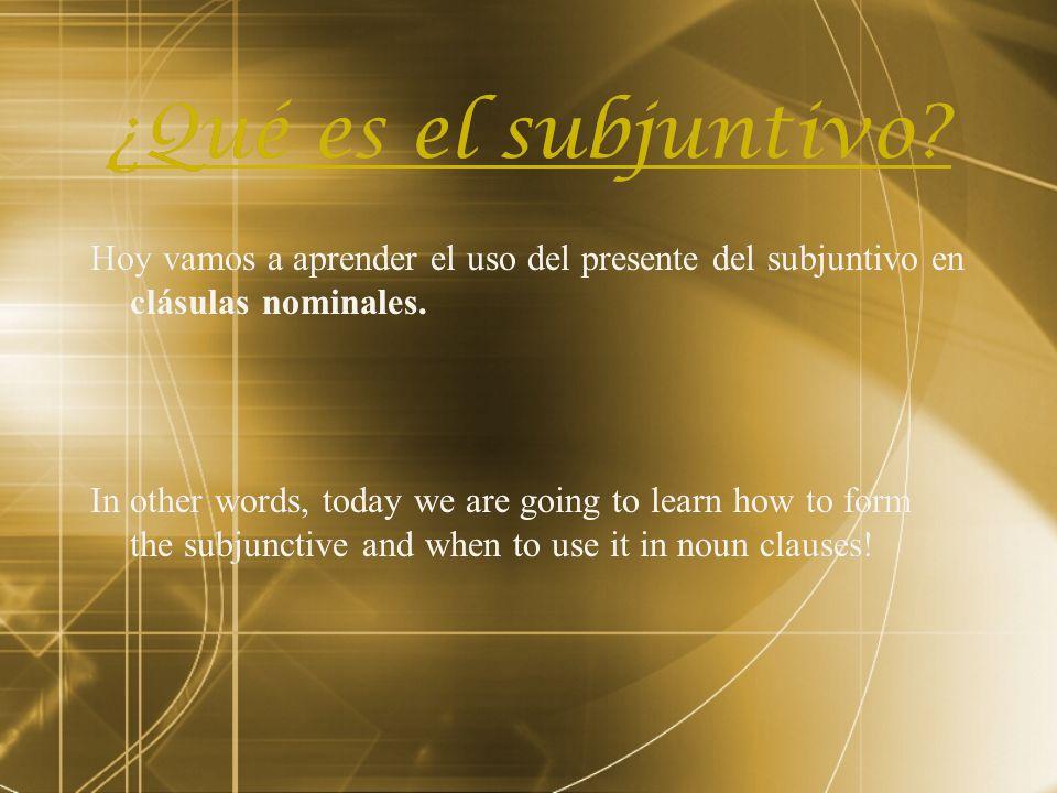 ¿Qué es el subjuntivo Hoy vamos a aprender el uso del presente del subjuntivo en clásulas nominales.