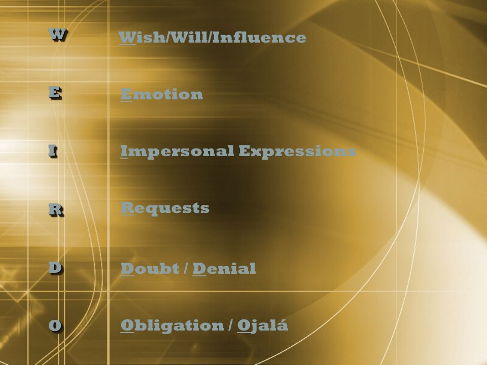 W E. I. R. D. O. Wish/Will/Influence. Emotion. Impersonal Expressions. Requests. Doubt / Denial.