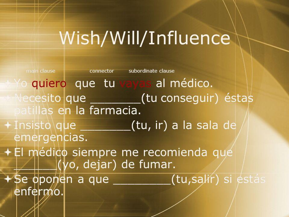 Wish/Will/Influence Yo quiero que tu vayas al médico.