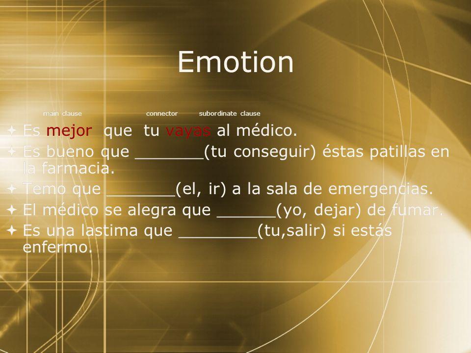 Emotion Es mejor que tu vayas al médico.