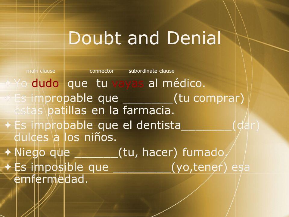Doubt and Denial Yo dudo que tu vayas al médico.