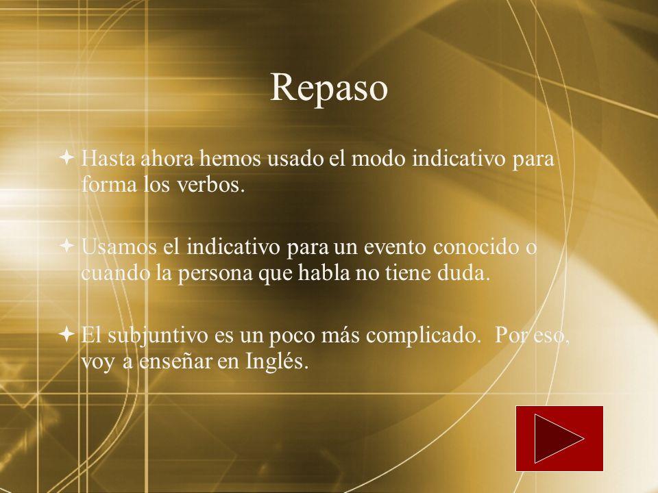 RepasoHasta ahora hemos usado el modo indicativo para forma los verbos.