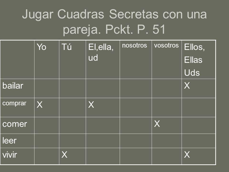 Jugar Cuadras Secretas con una pareja. Pckt. P. 51