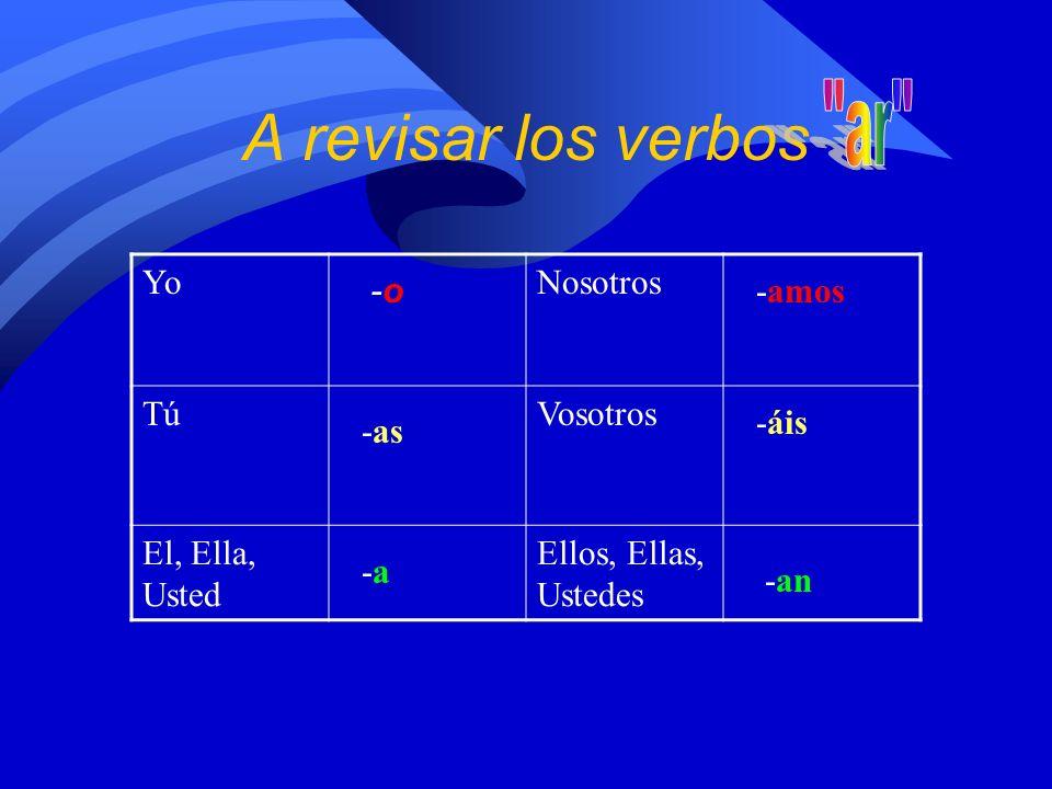 A revisar los verbos ar Yo Nosotros Tú Vosotros El, Ella, Usted