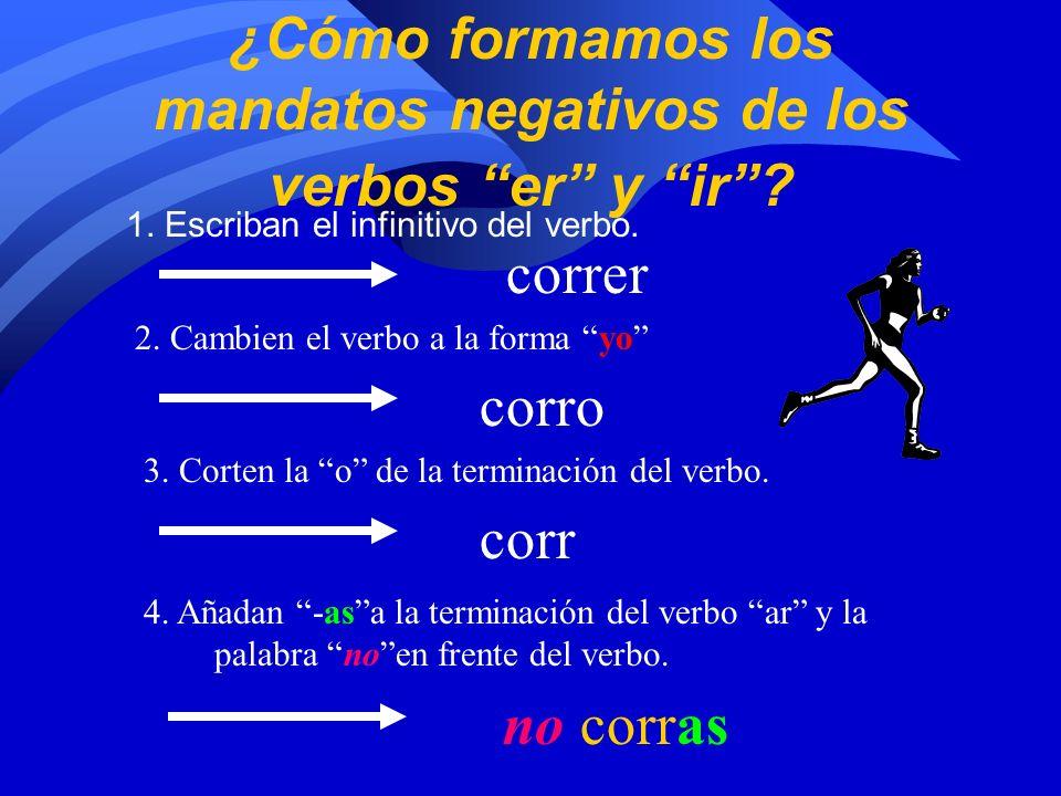 ¿Cómo formamos los mandatos negativos de los verbos er y ir