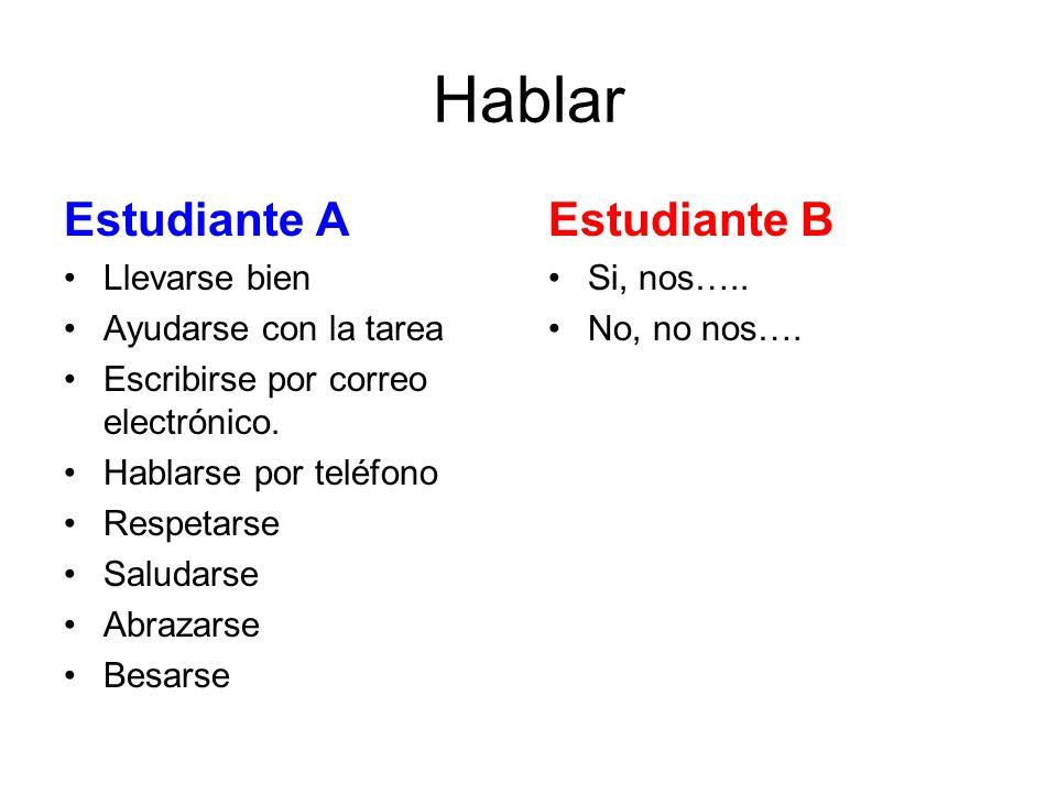 Hablar Estudiante A Estudiante B Llevarse bien Ayudarse con la tarea