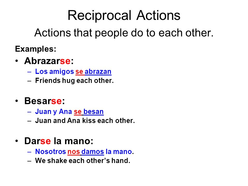 Reciprocal Actions Actions that people do to each other.