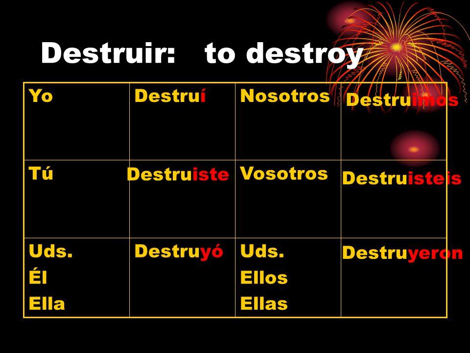 Destruir: to destroy Yo Destruí Nosotros Destruimos Tú Destruiste