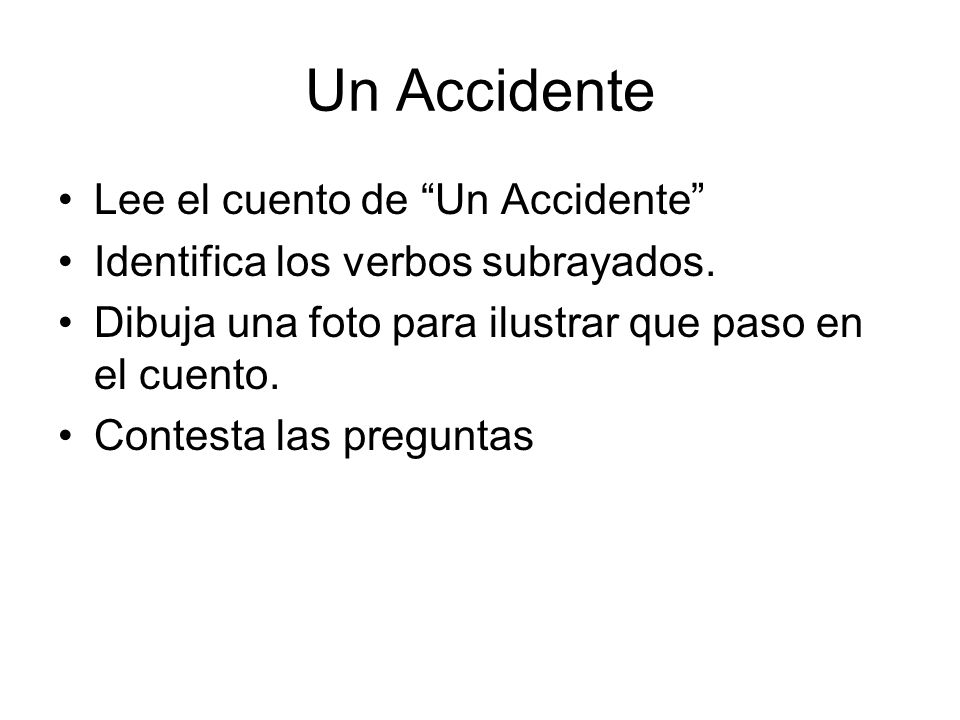 Un Accidente Lee el cuento de Un Accidente