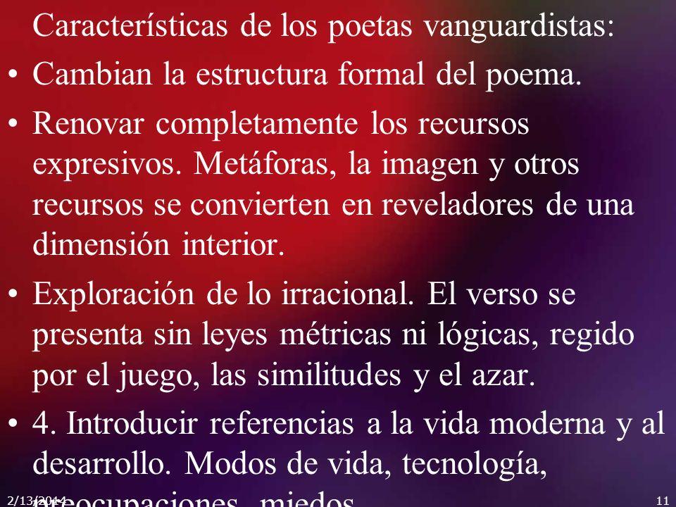 Características de los poetas vanguardistas: