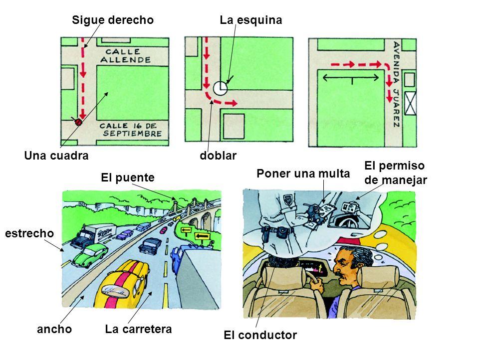 Sigue derecho La esquina. Una cuadra. doblar. El permiso. de manejar. Poner una multa. El puente.