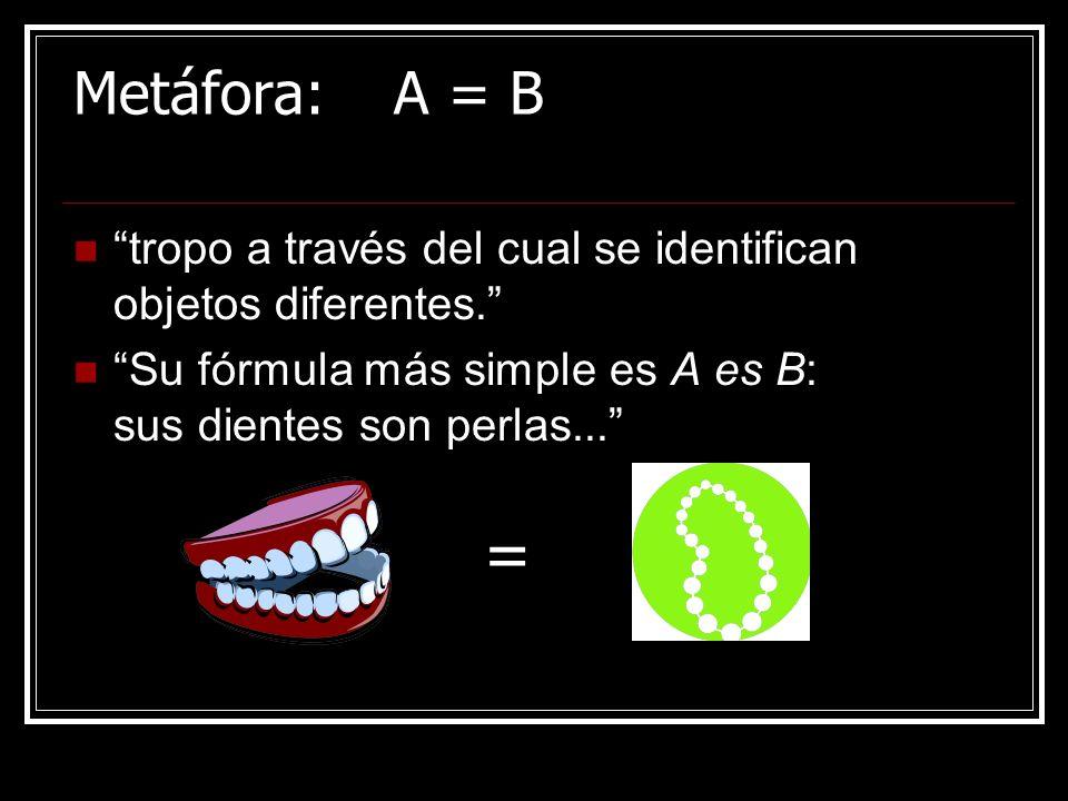 Metáfora: A = B tropo a través del cual se identifican objetos diferentes. Su fórmula más simple es A es B: sus dientes son perlas...