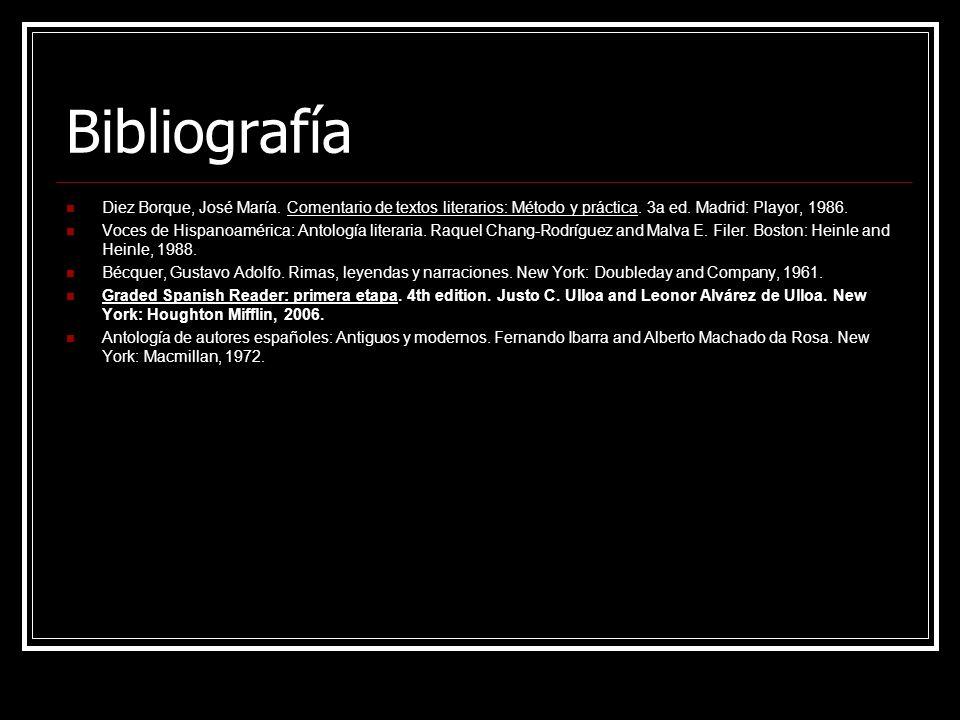 Bibliografía Diez Borque, José María. Comentario de textos literarios: Método y práctica. 3a ed. Madrid: Playor, 1986.