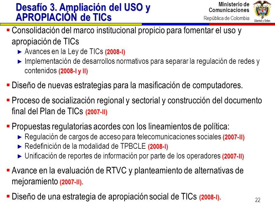 Desafío 3. Ampliación del USO y APROPIACIÓN de TICs
