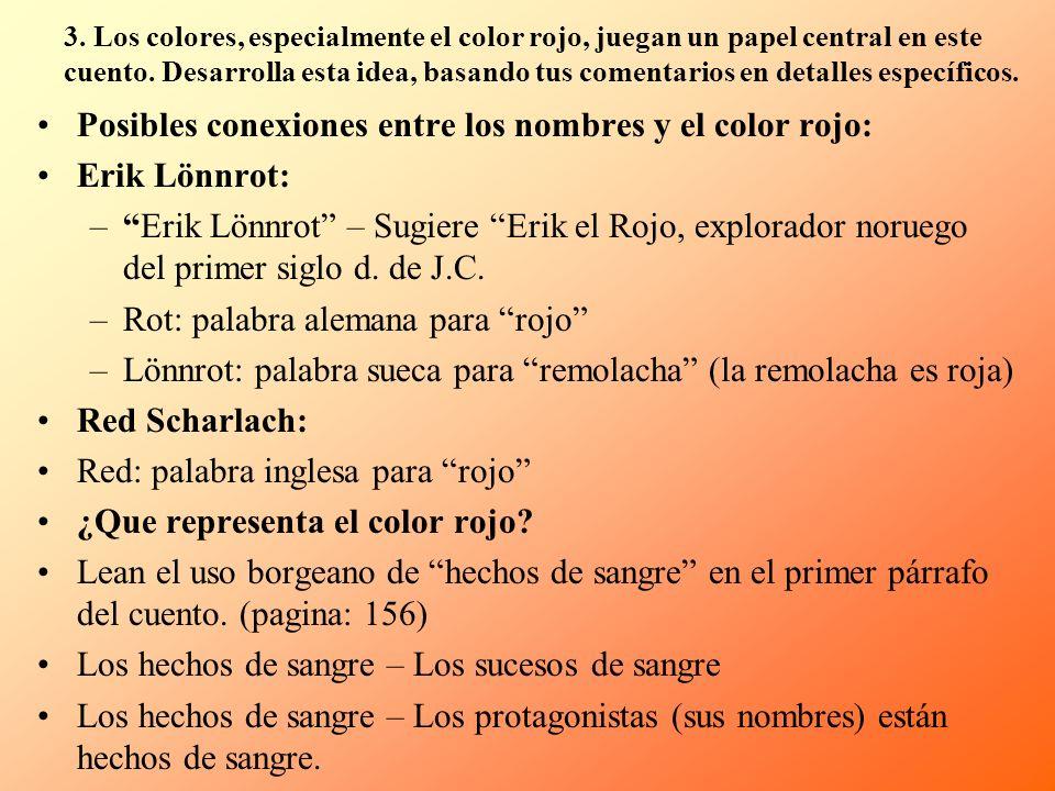 Posibles conexiones entre los nombres y el color rojo: Erik Lönnrot: