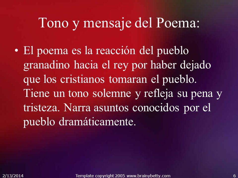 Tono y mensaje del Poema: