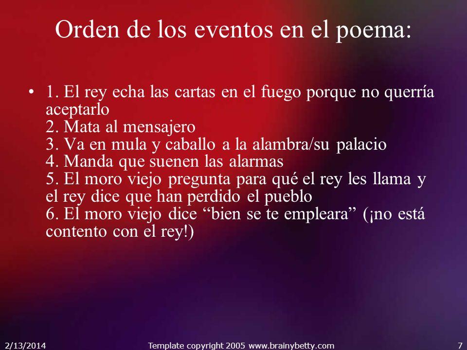 Orden de los eventos en el poema: