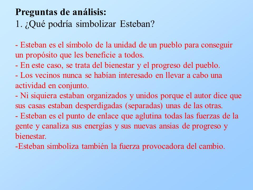 Preguntas de análisis: 1. ¿Qué podría simbolizar Esteban