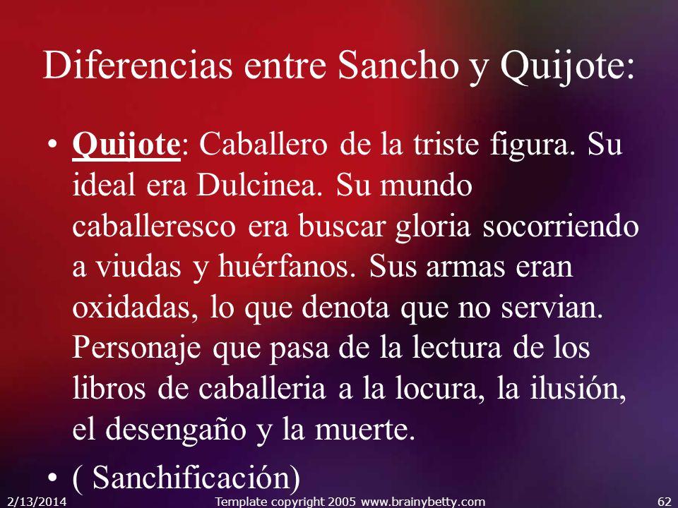 Diferencias entre Sancho y Quijote: