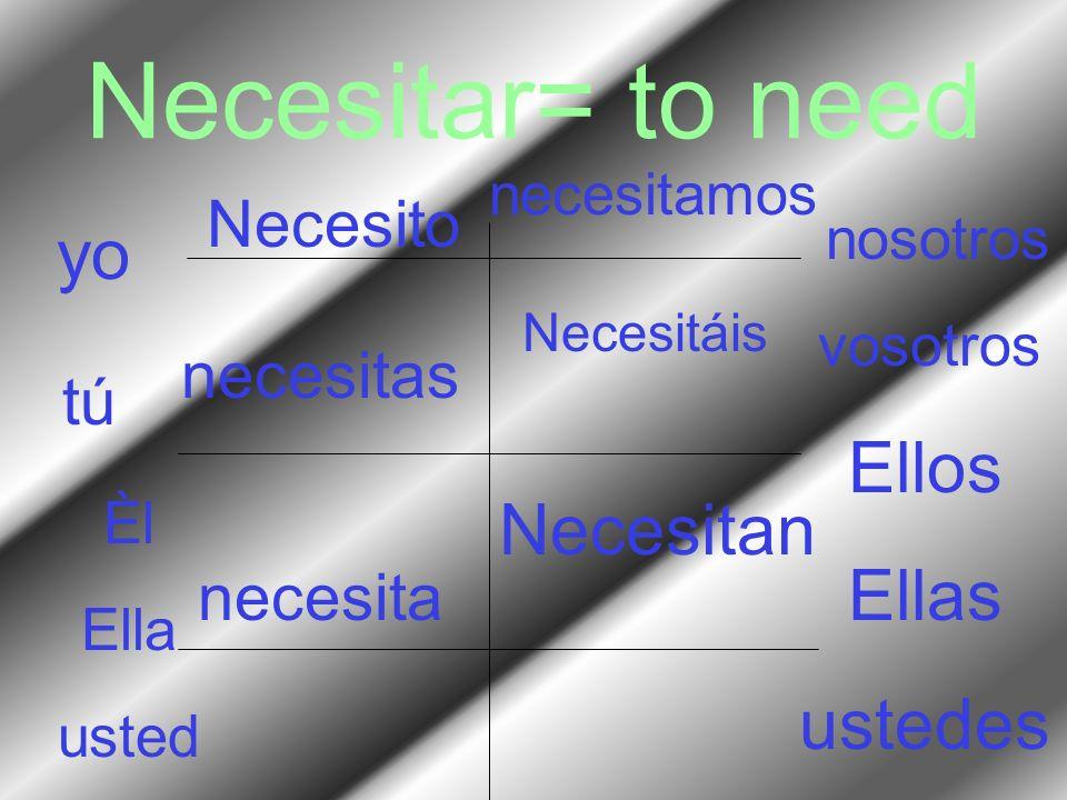 Necesitar= to need yo Ellos Ellas Necesitan ustedes Necesito necesitas