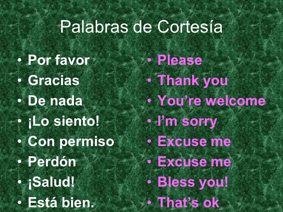 Palabras de Cortesía Por favor Gracias De nada ¡Lo siento! Con permiso