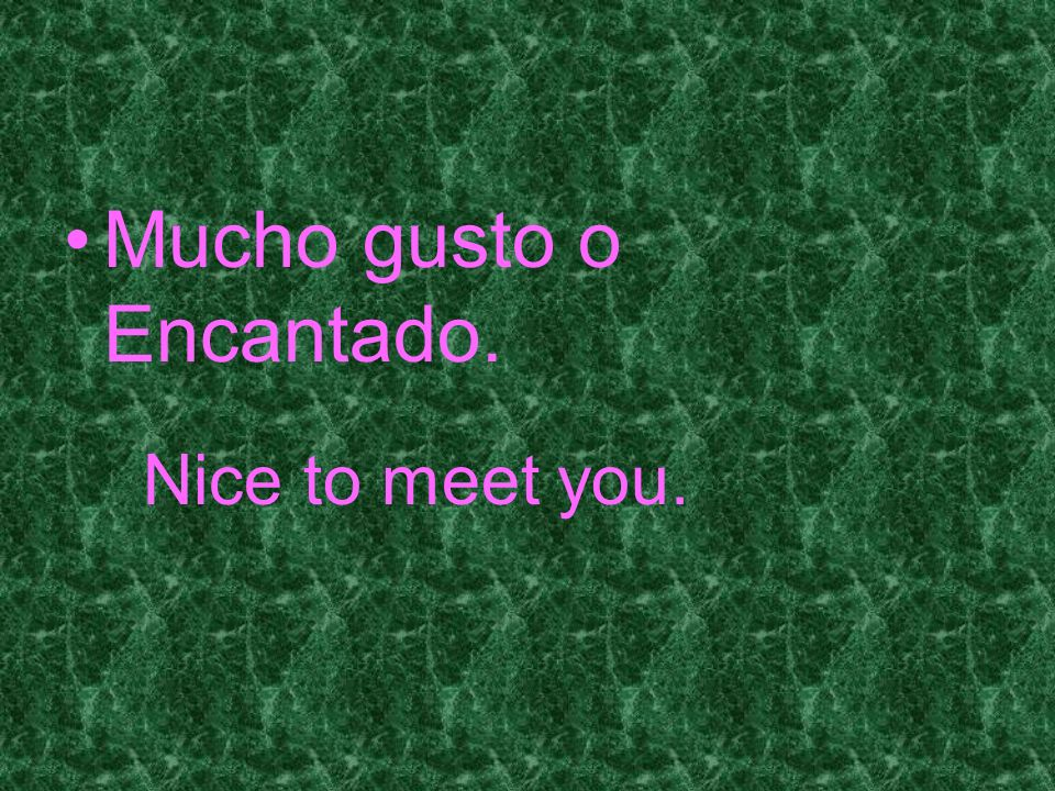 nice to meet you in spanish mucho gusto