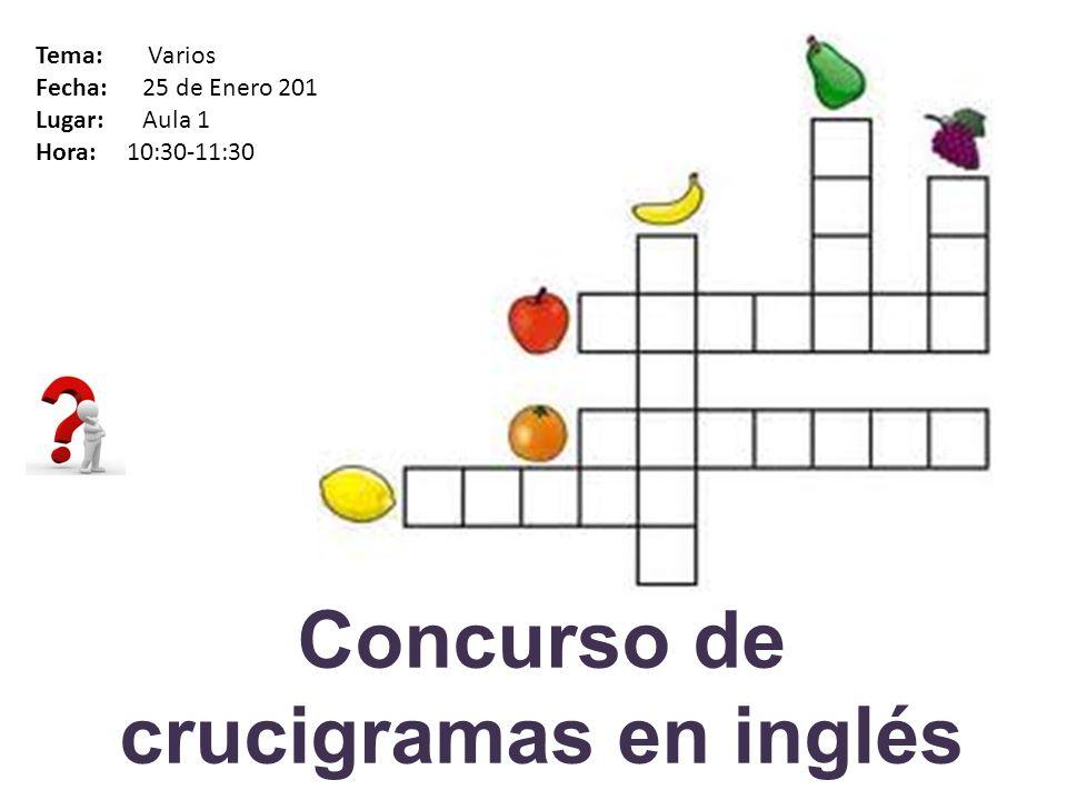 Concurso de crucigramas en inglés