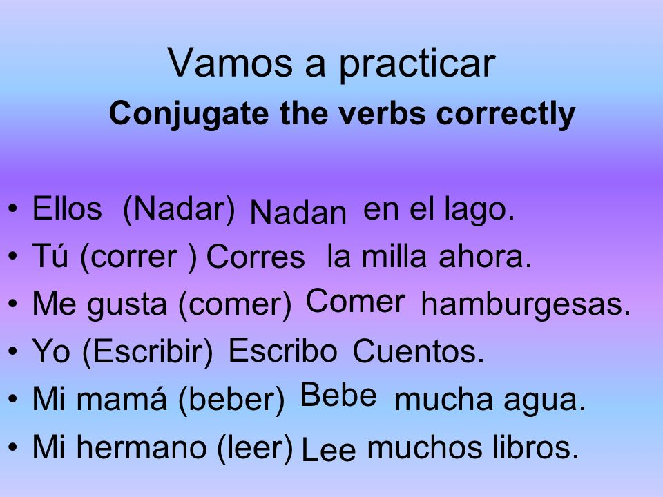 Vamos a practicar Conjugate the verbs correctly