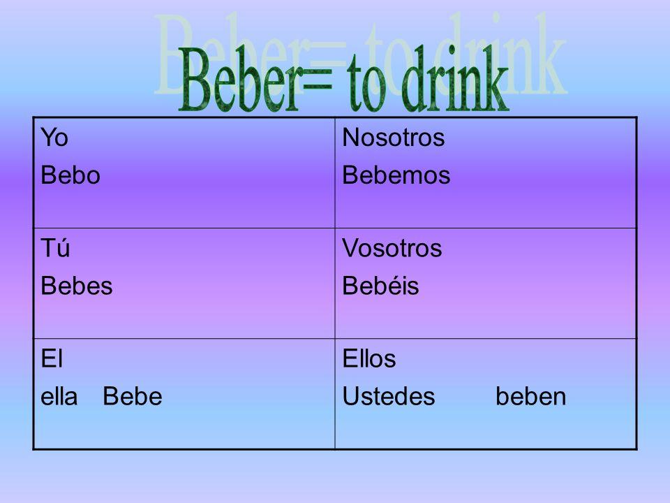 Beber= to drink Yo Bebo Nosotros Bebemos Tú Bebes Vosotros Bebéis El