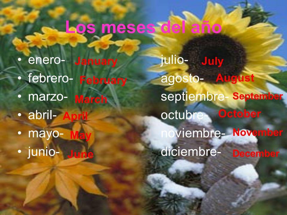 Los meses del año enero- julio- febrero- agosto- marzo- septiembre-