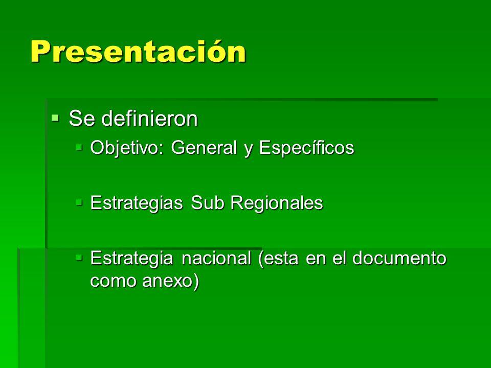 Presentación Se definieron Objetivo: General y Específicos