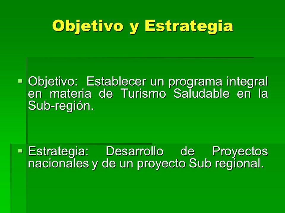 Objetivo y Estrategia Objetivo: Establecer un programa integral en materia de Turismo Saludable en la Sub-región.