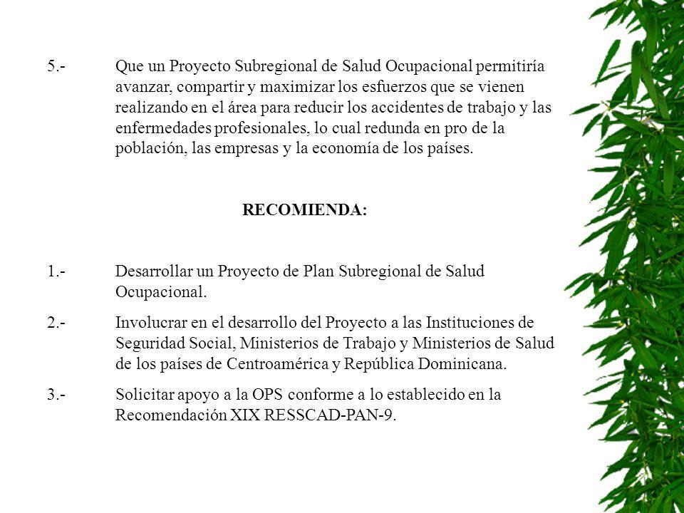 5. -. Que un Proyecto Subregional de Salud Ocupacional permitiría