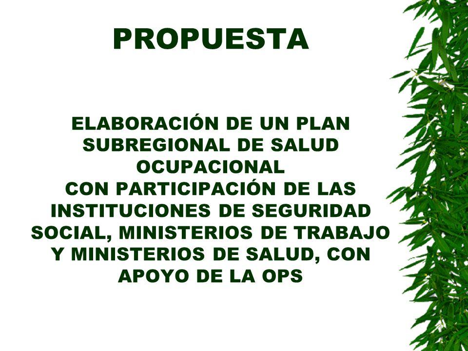 PROPUESTA ELABORACIÓN DE UN PLAN SUBREGIONAL DE SALUD OCUPACIONAL CON PARTICIPACIÓN DE LAS INSTITUCIONES DE SEGURIDAD SOCIAL, MINISTERIOS DE TRABAJO Y MINISTERIOS DE SALUD, CON APOYO DE LA OPS