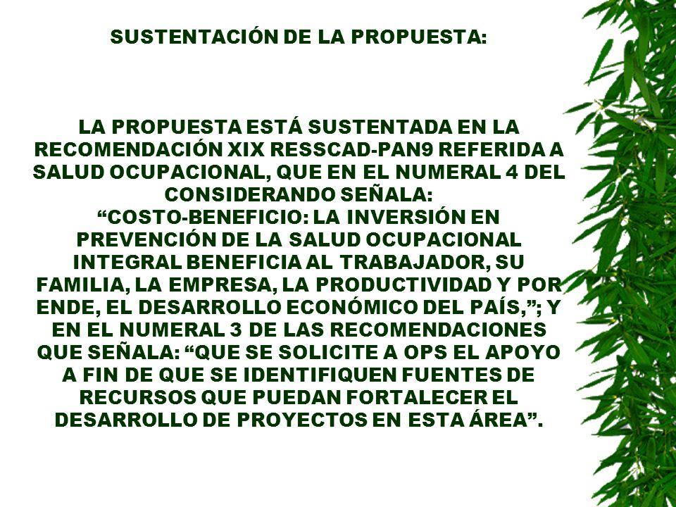 SUSTENTACIÓN DE LA PROPUESTA: LA PROPUESTA ESTÁ SUSTENTADA EN LA RECOMENDACIÓN XIX RESSCAD-PAN9 REFERIDA A SALUD OCUPACIONAL, QUE EN EL NUMERAL 4 DEL CONSIDERANDO SEÑALA: COSTO-BENEFICIO: LA INVERSIÓN EN PREVENCIÓN DE LA SALUD OCUPACIONAL INTEGRAL BENEFICIA AL TRABAJADOR, SU FAMILIA, LA EMPRESA, LA PRODUCTIVIDAD Y POR ENDE, EL DESARROLLO ECONÓMICO DEL PAÍS, ; Y EN EL NUMERAL 3 DE LAS RECOMENDACIONES QUE SEÑALA: QUE SE SOLICITE A OPS EL APOYO A FIN DE QUE SE IDENTIFIQUEN FUENTES DE RECURSOS QUE PUEDAN FORTALECER EL DESARROLLO DE PROYECTOS EN ESTA ÁREA .