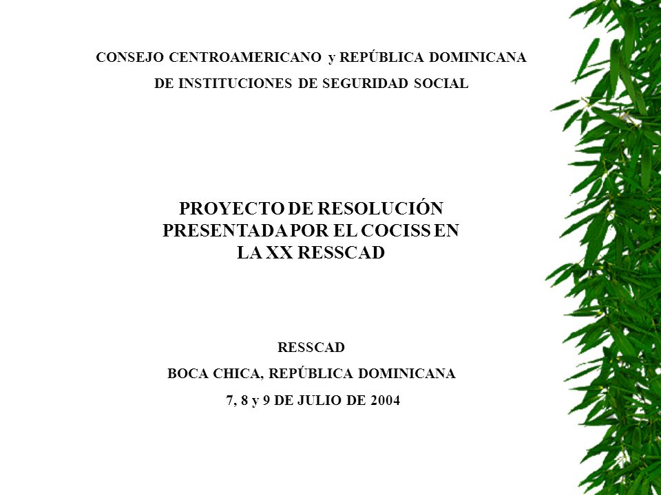 PROYECTO DE RESOLUCIÓN PRESENTADA POR EL COCISS EN LA XX RESSCAD