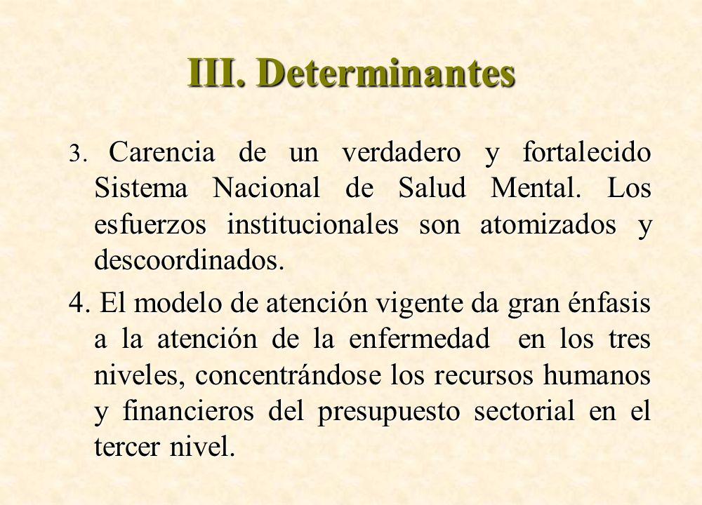 III. Determinantes
