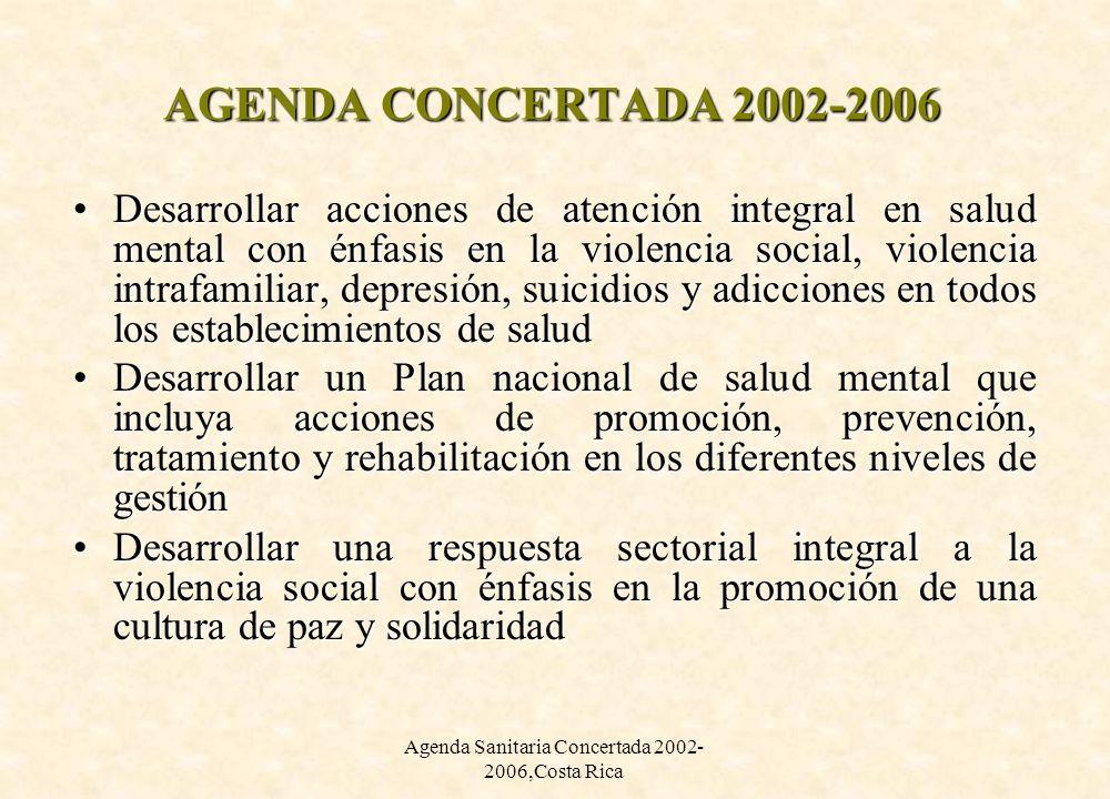 Agenda Sanitaria Concertada 2002-2006,Costa Rica